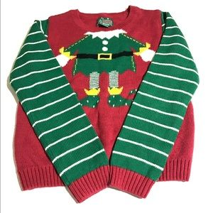 Ugly Christmas Sweater with Elf red & green